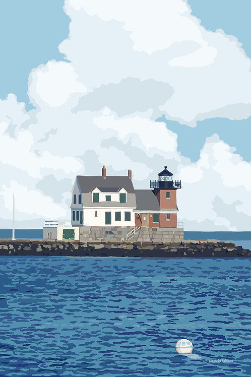 Rockland Breakwater - Maine - Lighthouse Art - Graphic Art Print