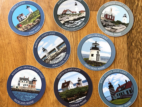 Maine Lighthouse Sticker Sets
