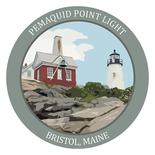 Round Pemaquid Point Light Sticker