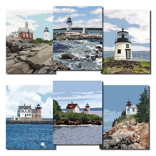 Midcoast Maine Lighthouse Note Cards