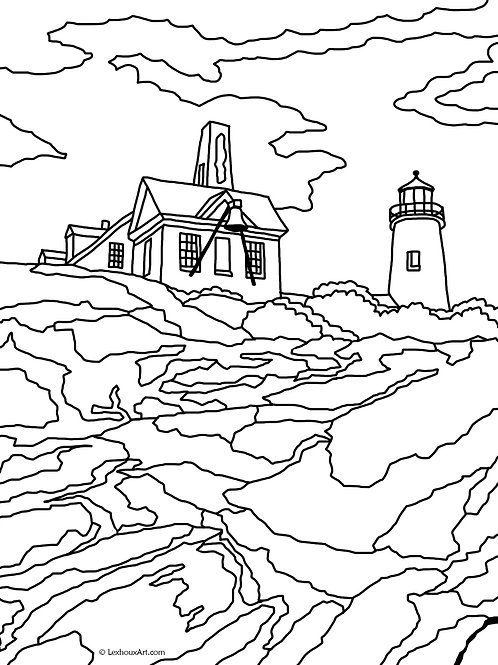 Pemaquid Point Light - Coloring Page