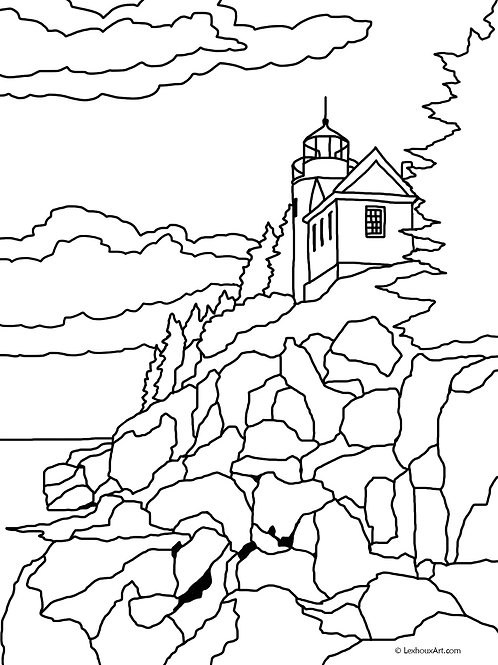 Bass Harbor Head Light - Coloring Page