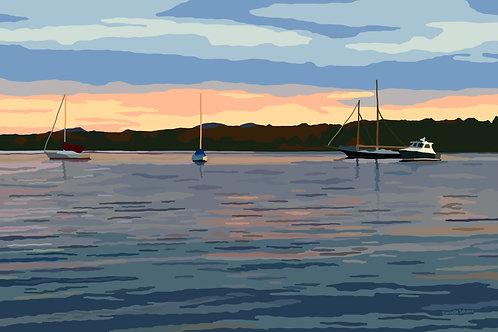 Belfast Sunset - Maine Graphic Art Print