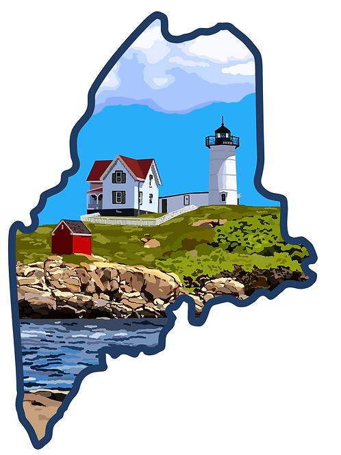 "Nubble Light ""Maine"" Sticker"