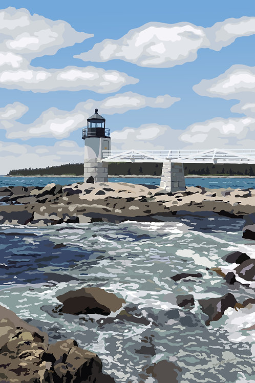 Marshall Point Light - Maine - Lighthouse Art - Graphic Art Print