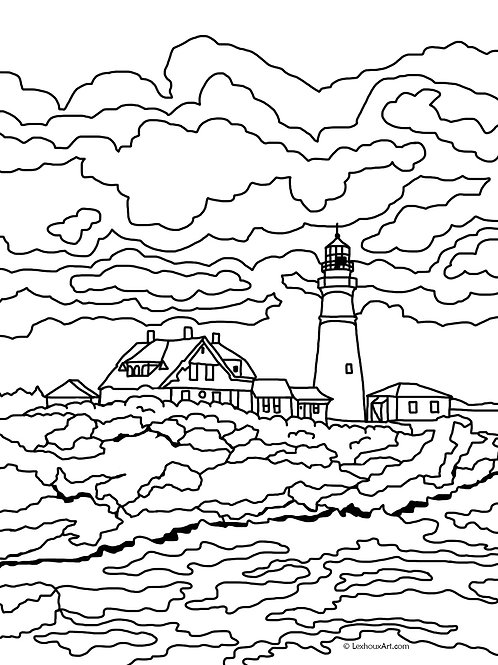 Portland Head Light - Coloring Page