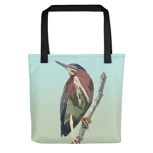 Green Heron - Bird Art - Tote Bag