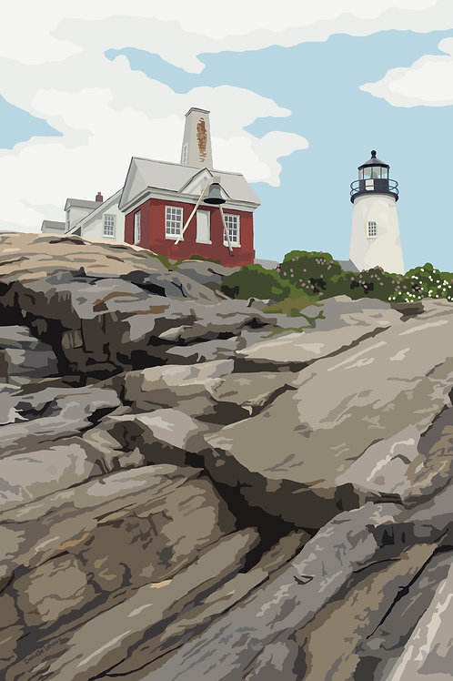 Pemaquid Point Light - Maine - Lighthouse Art - Graphic Art Print