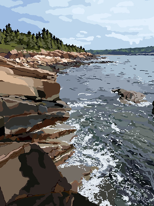 Ocean Path - Acadia National Park, Maine - Graphic Art Print