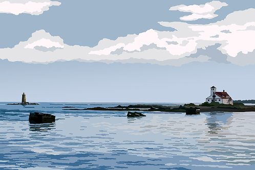 View From the Pier - Fort Foster - Maine - Graphic Art Print