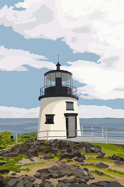 Owls Head Light - Maine - Lighthouse Art - Graphic Art Print