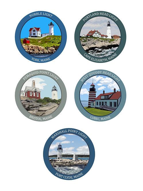 Single Maine Lighthouse Stickers