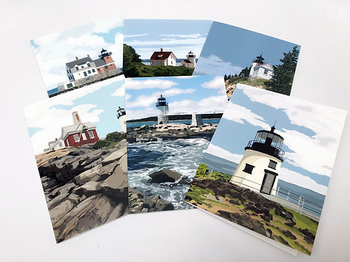 Maine Lighthouses - 6-Pack Blank Note Cards
