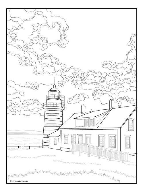 West Quoddy Head Light - Coloring Page