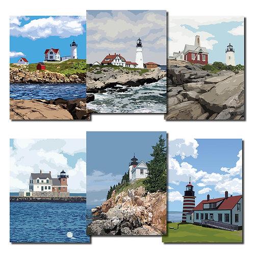 Coast to Coast Maine Lighthouse Note Cards
