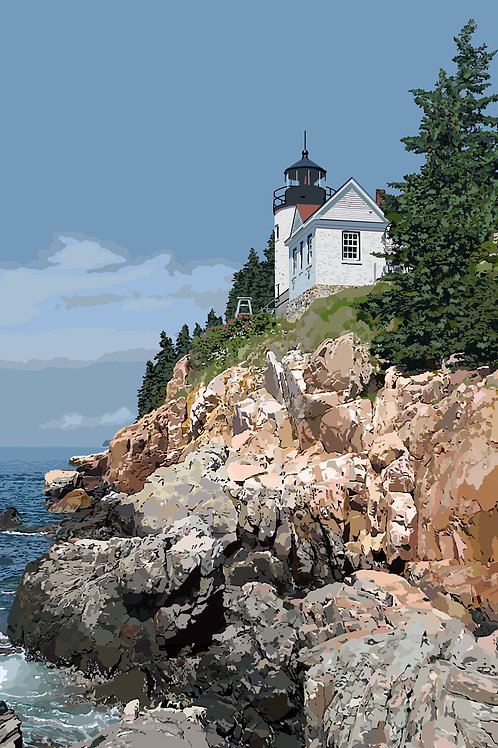 Bass Harbor Head Light - Maine - Lighthouse Art - Graphic Art Print