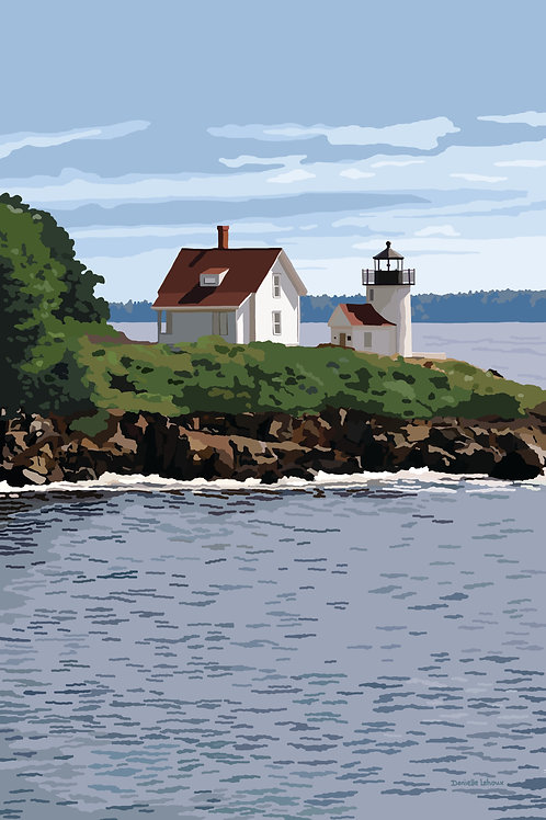 Curtis Island Light - Maine - Lighthouse Art - Graphic Art Print