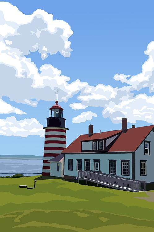 West Quoddy Head Light - Maine - Lighthouse Art - Graphic Art Print