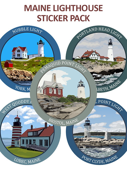 Set of Five Maine Lighthouse Stickers
