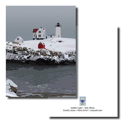 Nubble Light in Winter - 6-Pack Blank Note Cards