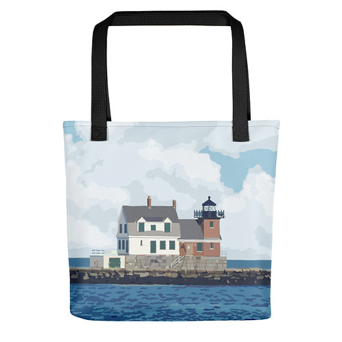 Rockland Breakwater - Maine Lighthouse Tote Bag