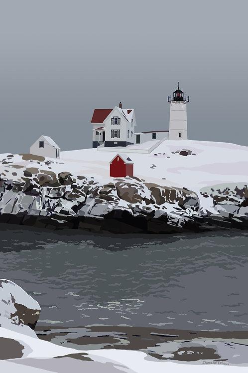 Nubble Light in Winter - Maine - Lighthouse Art - Graphic Art Print