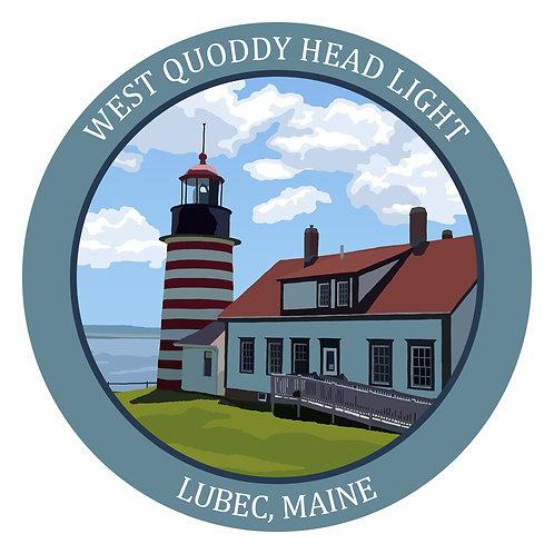 Round West Quoddy Head Light Sticker