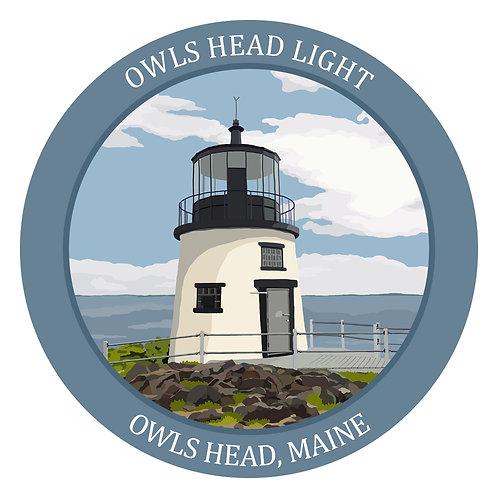 Owls Head Light Vinyl Sticker