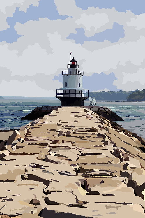 Spring Point Ledge Lighthouse - Maine - Lighthouse Art - Graphic Art Print