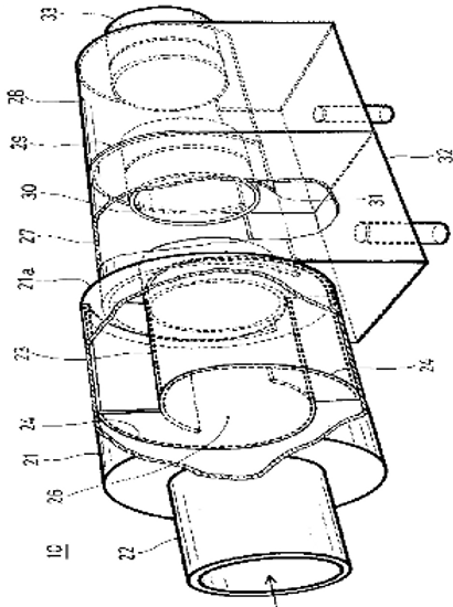The gas-liquid separator, the gas-liquid separating device and a device for purifying exhaust gas, or air cleaner, or air sterilizing and cleaning device