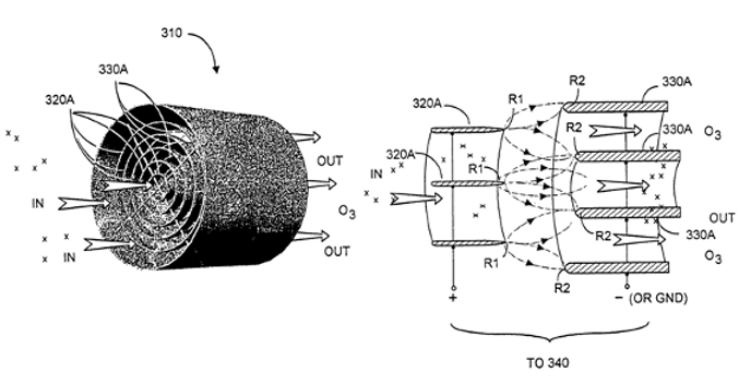 Air transporter-conditioner device with tubular electrode configurations