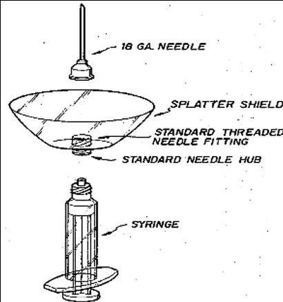 Hypodermic syringe splatter shield