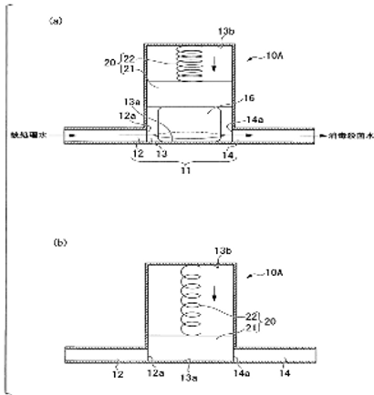 The water treatment device and provided with a water purifier