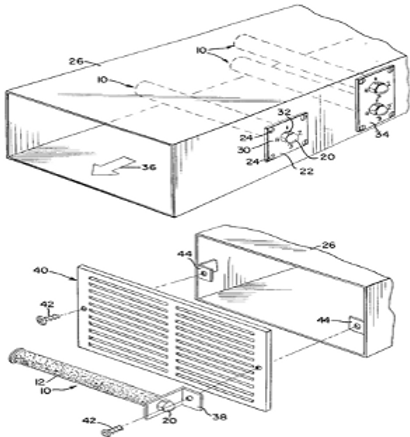 Germ removing device for air supply systems
