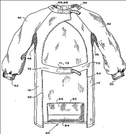 Protective garment having retaining bag