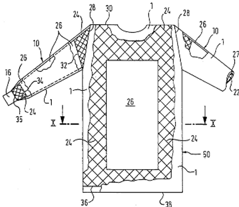 Article of clothing, in particular for the medical or chemical field having barrier membrane in critical areas