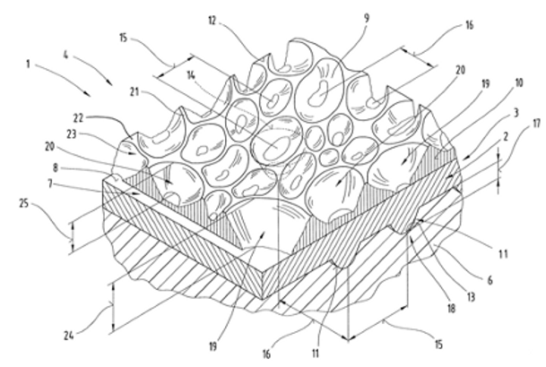 Flexible plastic articles bearing polymeric slip coatings and having raised/recessed roughness on their surfaces
