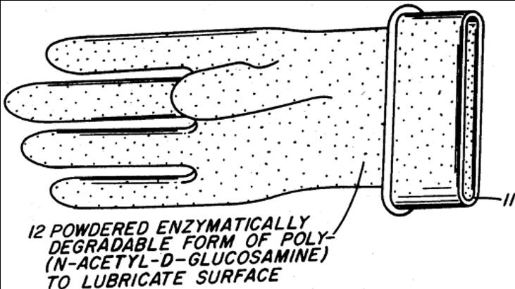 Chitin derived surgical glove powder