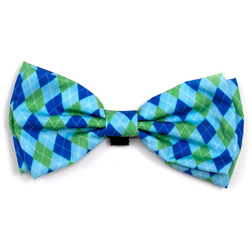 Preppy Argyle Blue Bow Tie from The Worthy Dog