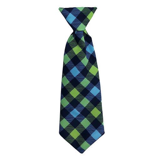 Navy Check Long Tie