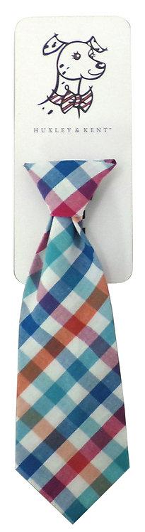 Blue/Green Check Long Tie by Huxley & Kent