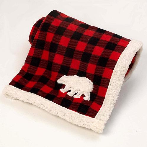 Red/Black Jackson Buffalo Check Fleece Polar Bear Blanket from PetRageous® Desig