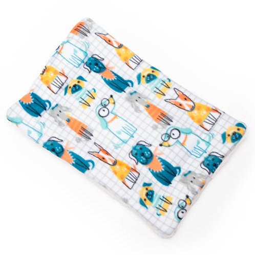 Dogs on Grid Printed Fleece Fabric Flat Pet Bed