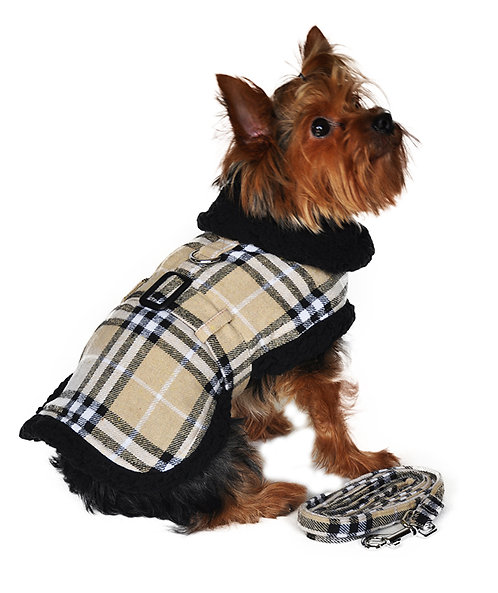 Designer Brown Plaid Classic Harness Coat & Matching Leash from Doggie Design, I