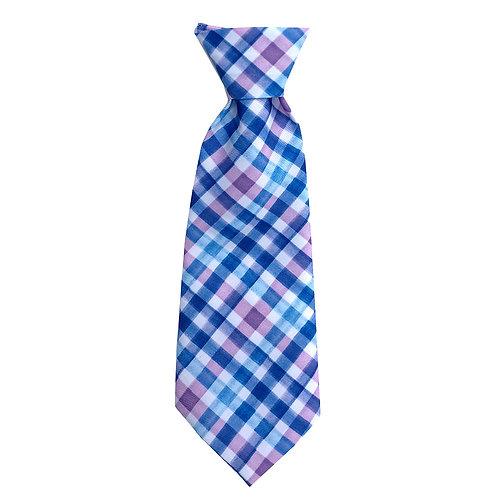 Purple Check Long Tie