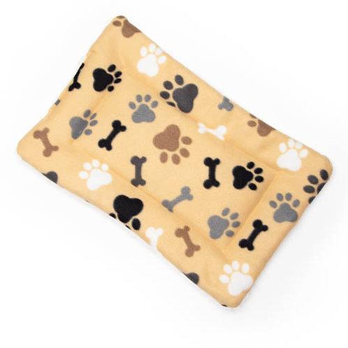 Tan Bones and Paws Printed Fleece Fabric Flat Pet Bed