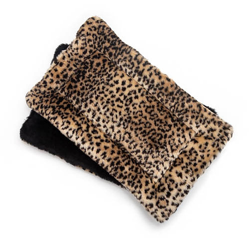 Leopard Fur Plush Fabric Flat Pet Bed