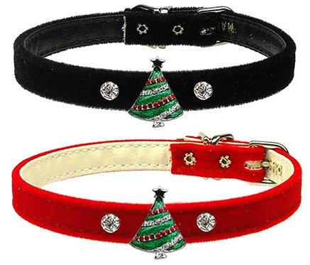 Christmas Tree Charm on 3/8 Red Velvet Collar