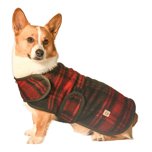 Red / Black Plaid Blanket Coat from Chilly Dog