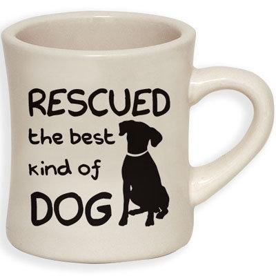 Rescued... - 10oz ivory diner mug with black print